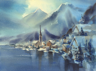 Winter in Alps with mountains watercolor landscape with trees and the valley.