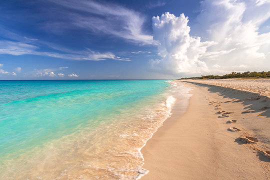 Beautiful Caribbean Sea beach in Playa del Carmen, Mexico