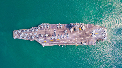 Top view of Aircraft carrier on the ship