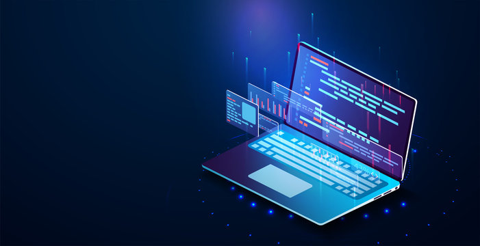 Software development, programming, coding vector concept