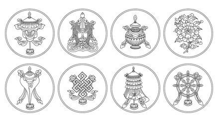 Ashtamangala. Eight auspicious symbols of Buddhism