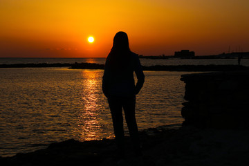 Sunset with view to Paphos Castle, Cyprus