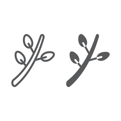 Willow line and glyph icon, spring and botany, plant sign, vector graphics, a linear pattern on a white background.