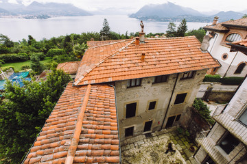 Look from above at orange roof of old Italian estate