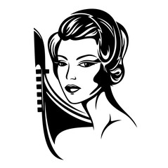 elegant woman with beautiful hairstyle and gondola boat - black and white vector portrait of venetian beauty