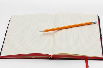 Business concept. Top view collection of notebook, white open flip curl rolled page and pencil on background for mockup