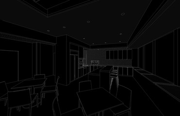 interior sketch 3d outline