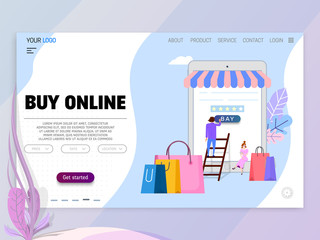 Online shopping concept, illustration metaphor, tiny cartoon people and laptop as storefront