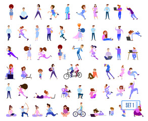 A crowd of tiny people on outdoor activities in the city and in the park. Men and women run and bike