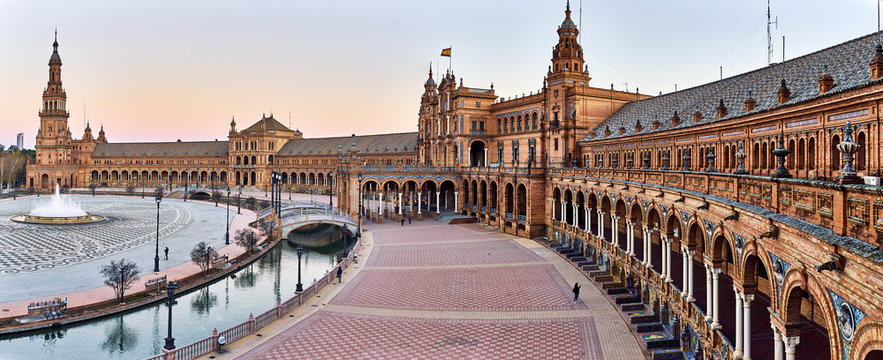 Panoramic view of Plaza de Espana, Seville