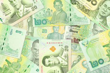 20 thai baht banknotes from different times