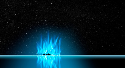 Spoed Foto op Canvas Fantasie Landschap Blue flames on Horizon