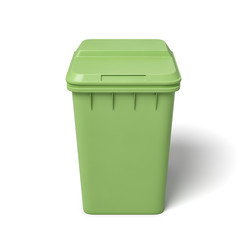 3d rendering of a light-green trash can isolated on white background.