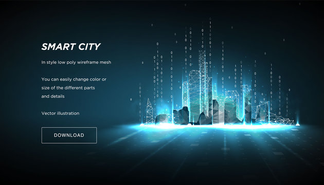 City of the Abstract low poly wireframe on dark background.Concept of smart cityand flow binary code.Plexus lines and points in the constellation.Polygonal particles.Vector 3d