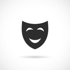 Smiling comedy theatre mask icon