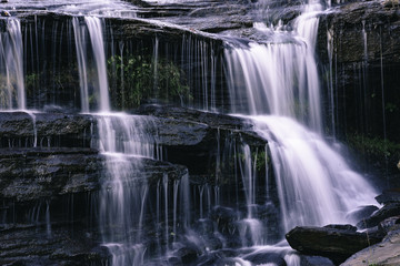 Waterfall over slick rocks