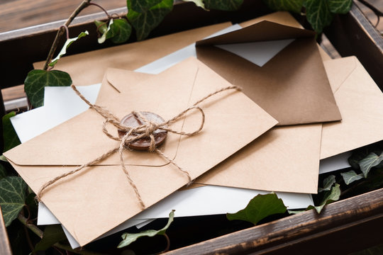 Many letters in box, closeup