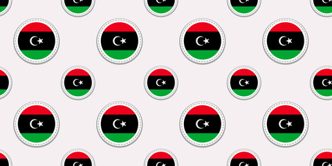 Libya round flag seamless pattern. National symbols background. Vector circle icons. Geometric stickers. Texture for sports pages, games, travelling design elements. patriotic wallpaper.
