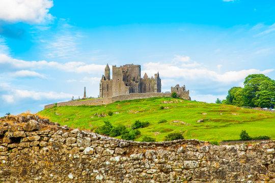 Irish landscape with ancient castle Rock of Cashel