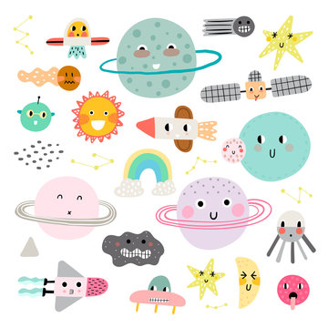 Сute set of cosmic elements. Kawaii moon, sun and planets vector illustration for kids. Isolated design elements for children.