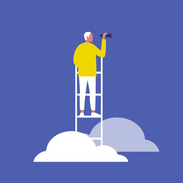 Young blonde male character standing on a ladder in the clouds and holding a spyglass. Business strategy. Success. Flat editable vector illustration, clip art