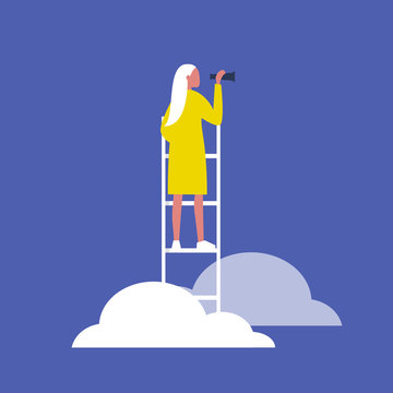 Young blonde female character standing on a ladder in the clouds and holding a spyglass. Business strategy. Success. Flat editable vector illustration, clip art
