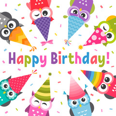 Card with Owls with Birthday party hats