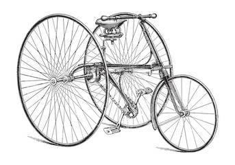 Old bicycle (tricycle) / vintage illustration from Meyers Konversations-Lexikon 1897