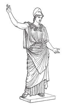 Athena of Velletri - greek - roman sculpture / vintage illustration from Meyers Konversations-Lexikon 1897