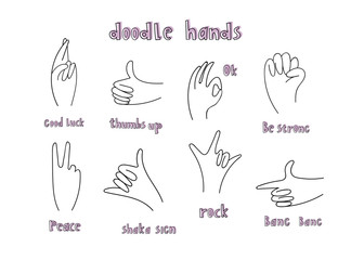 Popular hand gestures with descriptions. Doodle hand drawn set. Trendy black and white icons collection. Vector illustration. All elements are isolated