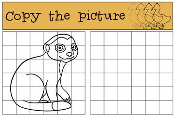 Educational game: Copy the picture. Little cute baby meerkat.