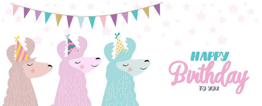 Llama birthday card. Cute birthday greeting card with alpaca. Editable vector illustration