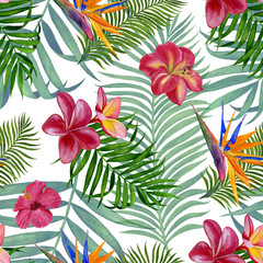 Seamless pattern with tropical leaves for fabric, wallpaper, wrapping paper, etc.