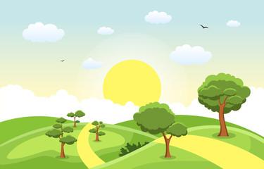 Fond de hotte en verre imprimé Piscine Mountains Hills Green Grass Tree Nature Landscape Sky