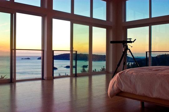 Telescope in bedroom with ocean view