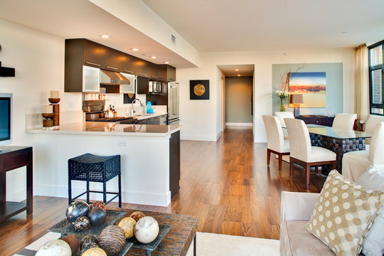 Kitchen and dining room of open floor plan