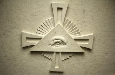 Triangle with eye symbol