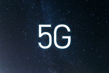 Icon 5G network wireless systems and internet of things. Abstract global with wireless communication network on space background