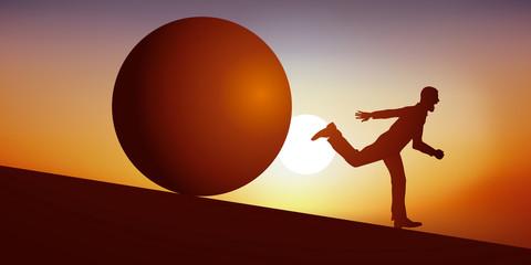 Concept du cauchemar avec un homme en situation de stress, qui fuit en courant pour échapper à une énorme boule, qui le poursuit en dévalant une pente pour l'écraser.
