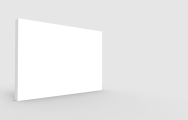 3d rendering. Empty blank white rectangle box whiteboard with clipping path on gray backgorund.