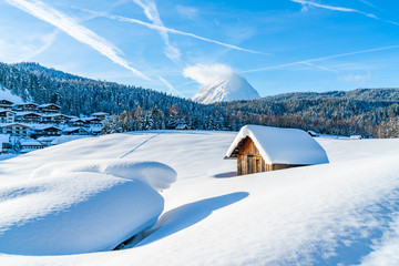 Winter landscape with with snow covered Alps in Seefeld in the Austrian state of Tyrol. Winter in Austria Wall mural