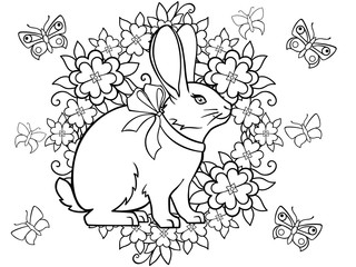 Spring came. Easter card. Picture for coloring. Easter bunny, wreath, flowers and butterflies. Outline.