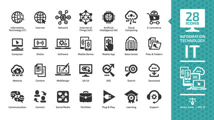 Information technology glyph icon set with IT network system, global internet, data center, communication, web site, social media, seo business, e-commerce, support, computer and mobile device sign. Fototapete