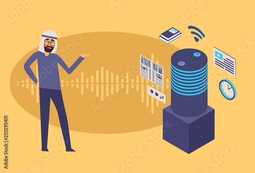 Cartoon picture with Voice assistance vector concept