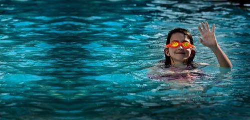 Summer Swimming Fun Goggles Girl in Pool Water Ripples