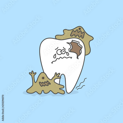 Cartoon tooth with bacteria and decay or caries  Teeth care and