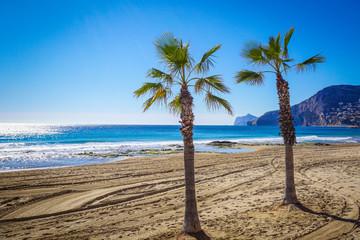 Beautiful landscape of Calp, Spain: beach and rock Ifach