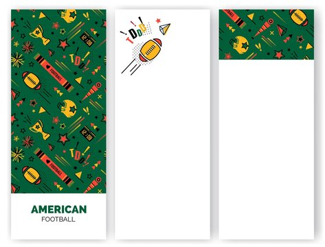 American football abstract banners in 80s memphis style. Seamless memphis pattern for posers and banners. Vector illustration