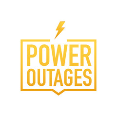 Power outages. Badge, icon, stamp, logo. Vector illustration.