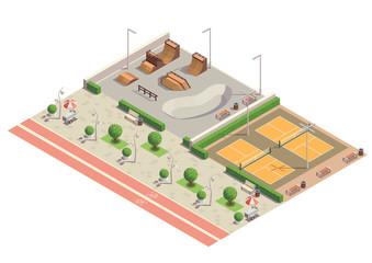 City Park Isometric Composition